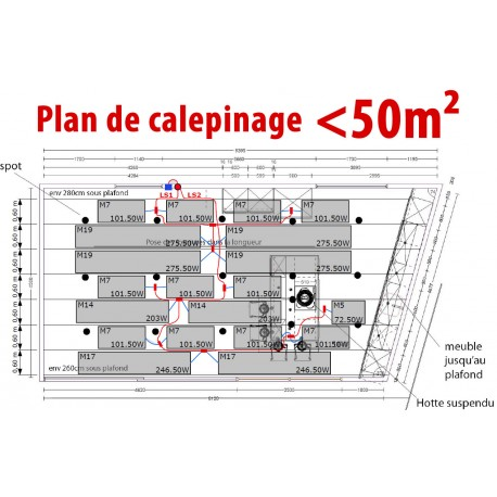 Plan de calepinage de moins de 50m²