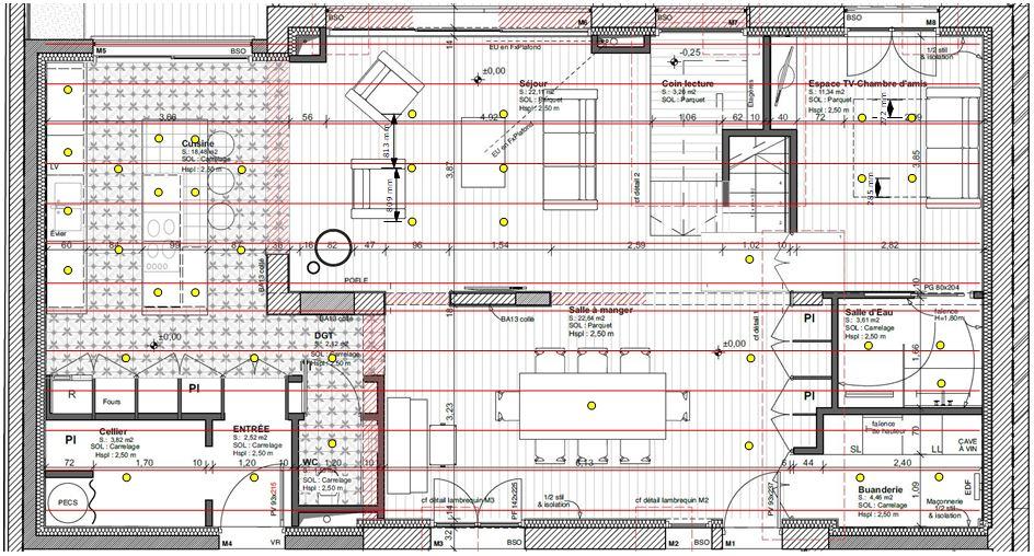 Plan de calepinage fourrures plafond chauffant