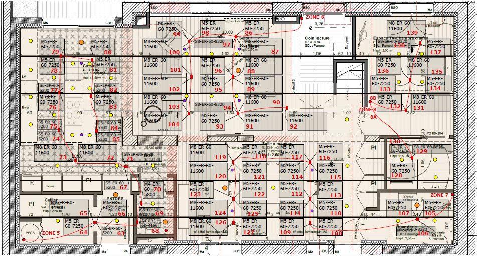Plan de calepinage plafond rayonnant ePan Roc Ceilingo