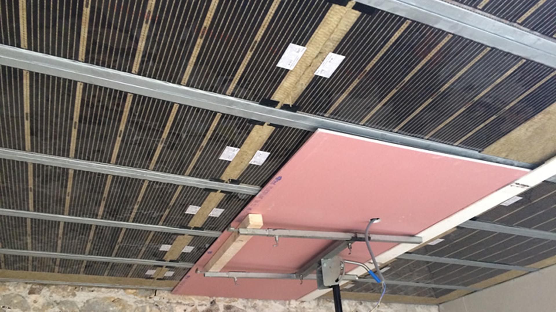 Plafond chauffant en plaque de plâtre