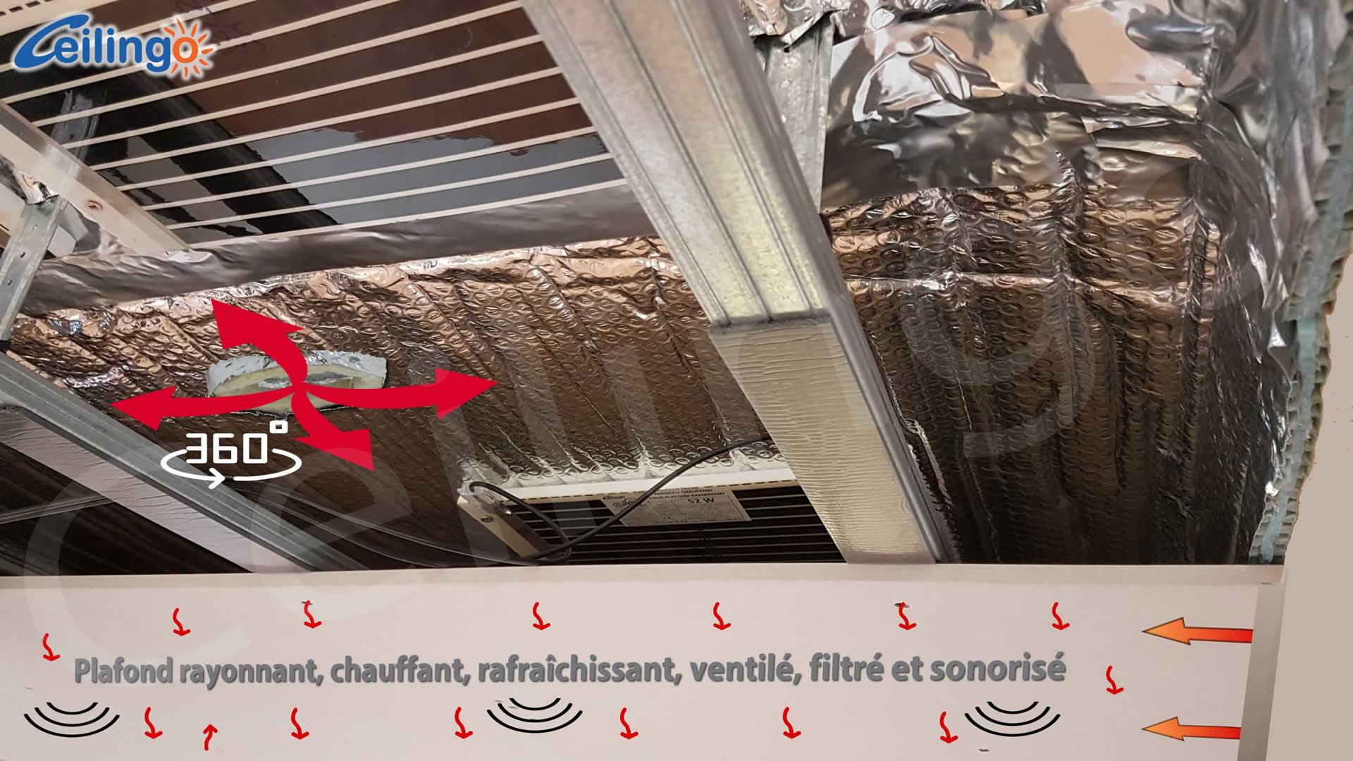 Le plafond chauffant biotique Ceilingo
