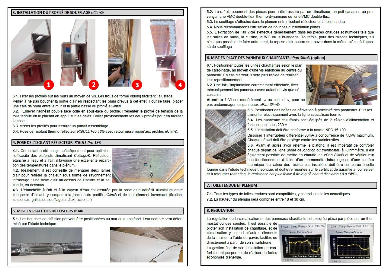 Notice de pose plafond tendu climatisant rayonnant eClim Ceilingo
