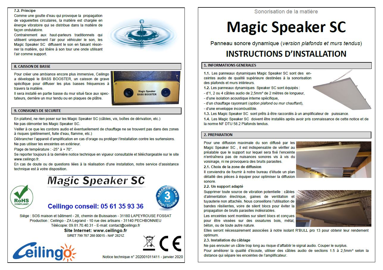 Magic Speaker SC Notice Enceinte audio plafond tendu